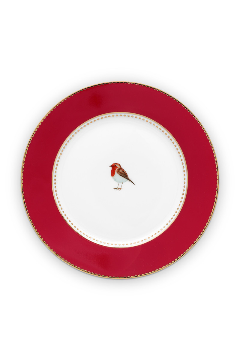 Color Relation Product Love Birds Pastry Plate Red 17 cm