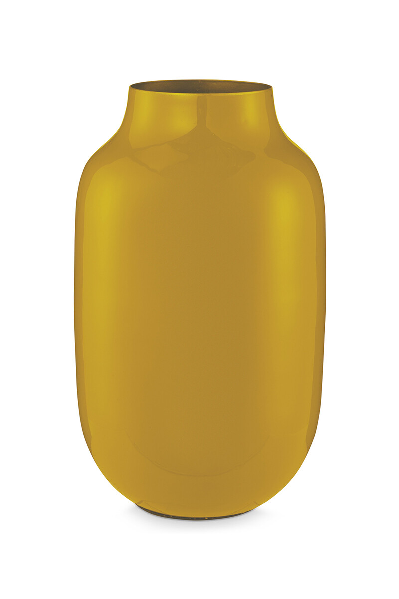 Color Relation Product Oval Metal Vase yellow 30 cm