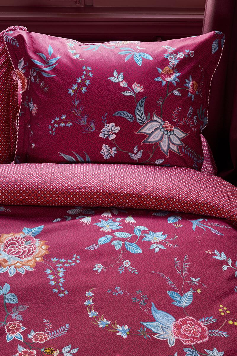 Color Relation Product Pillowcase Flower Festival Dark Red