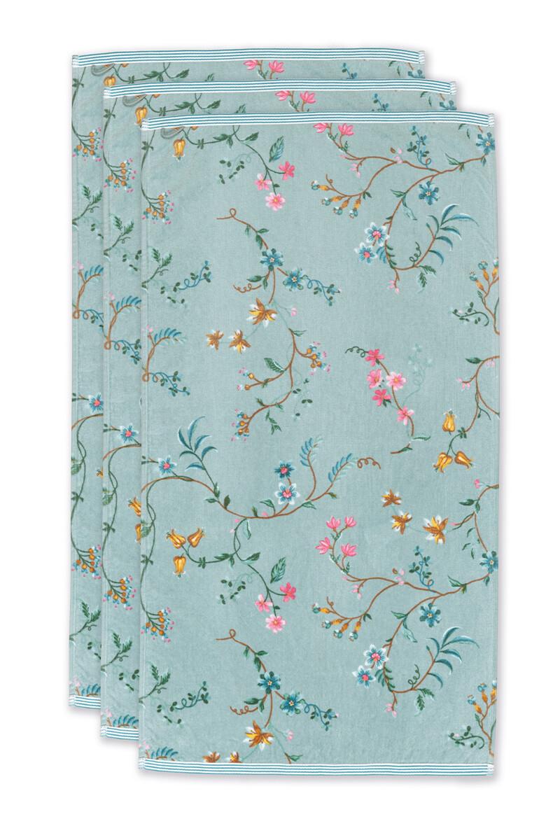 Color Relation Product Bath Towel Set/3 Les Fleurs Blue 55x100 cm