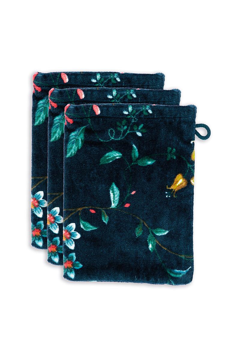 Color Relation Product Washandje Set/3 Les Fleurs Donkerblauw 16x22 cm