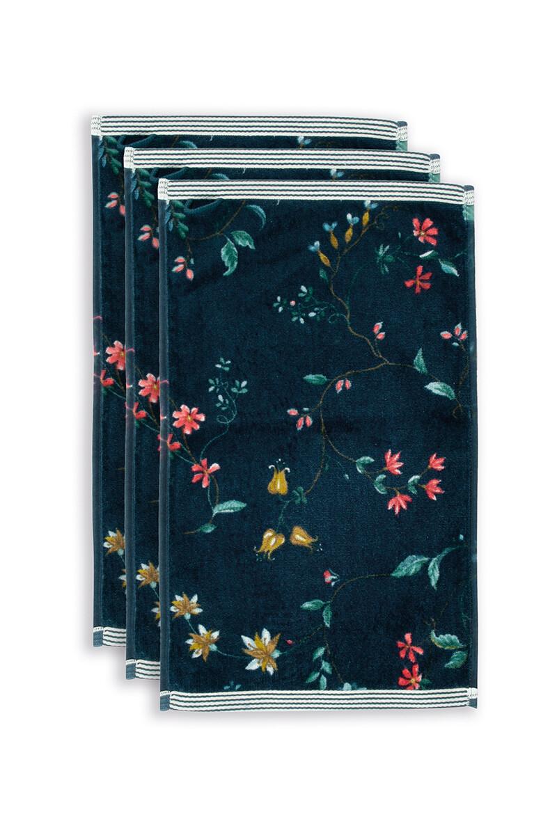 Color Relation Product Gastendoek Set/3 Les Fleurs Donkerblauw 30x50 cm
