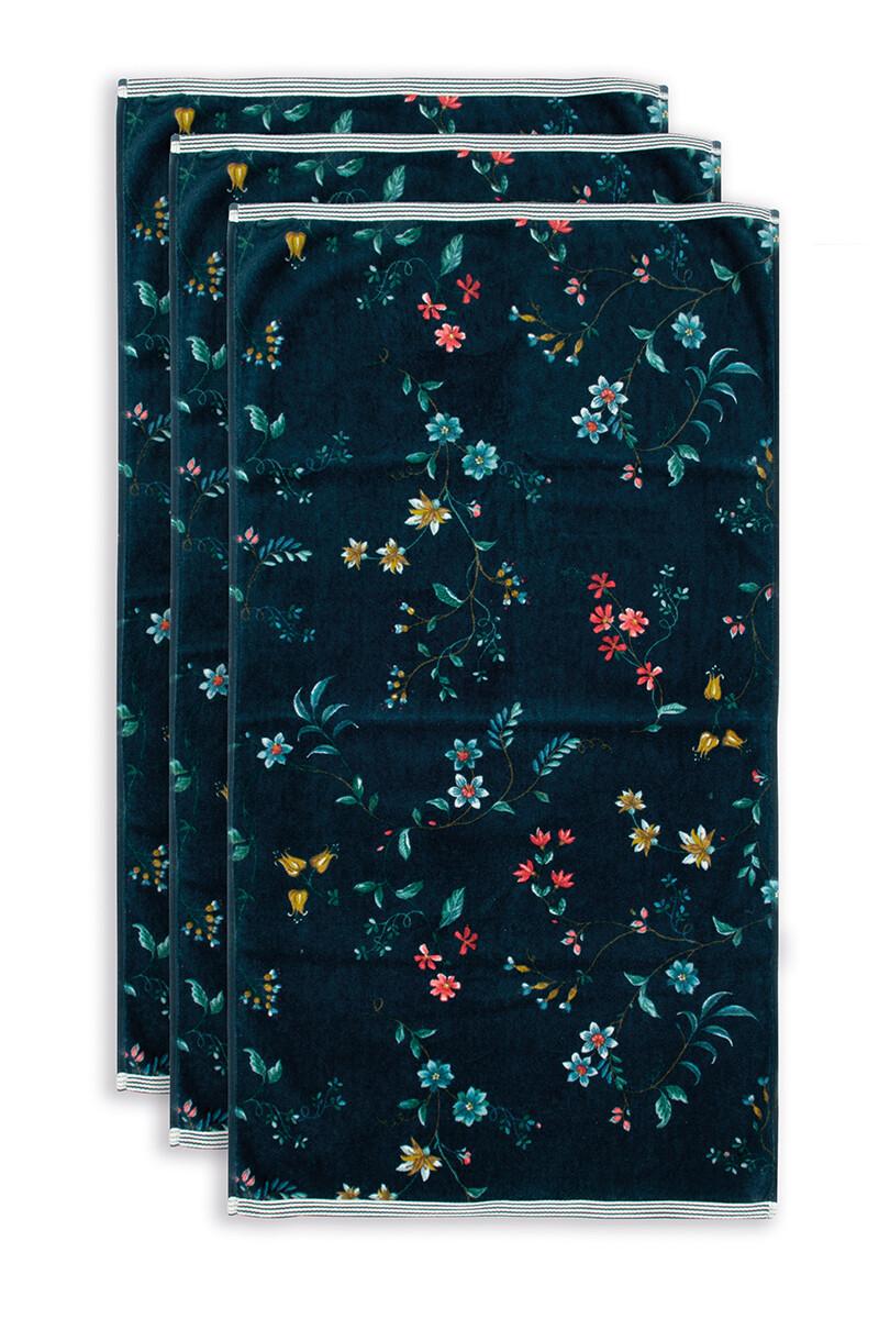 Color Relation Product Badhanddoek Set/3 Les Fleurs Donkerblauw 55x100 cm
