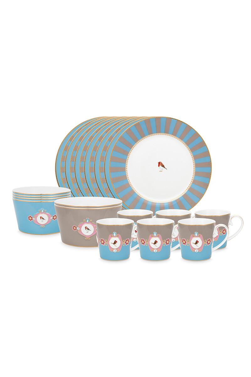Color Relation Product Love Birds Dinner Set/26 Blue/Khaki
