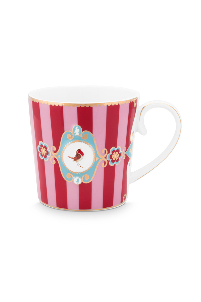 Color Relation Product Love Birds Mug Small Stripes Red/Pink
