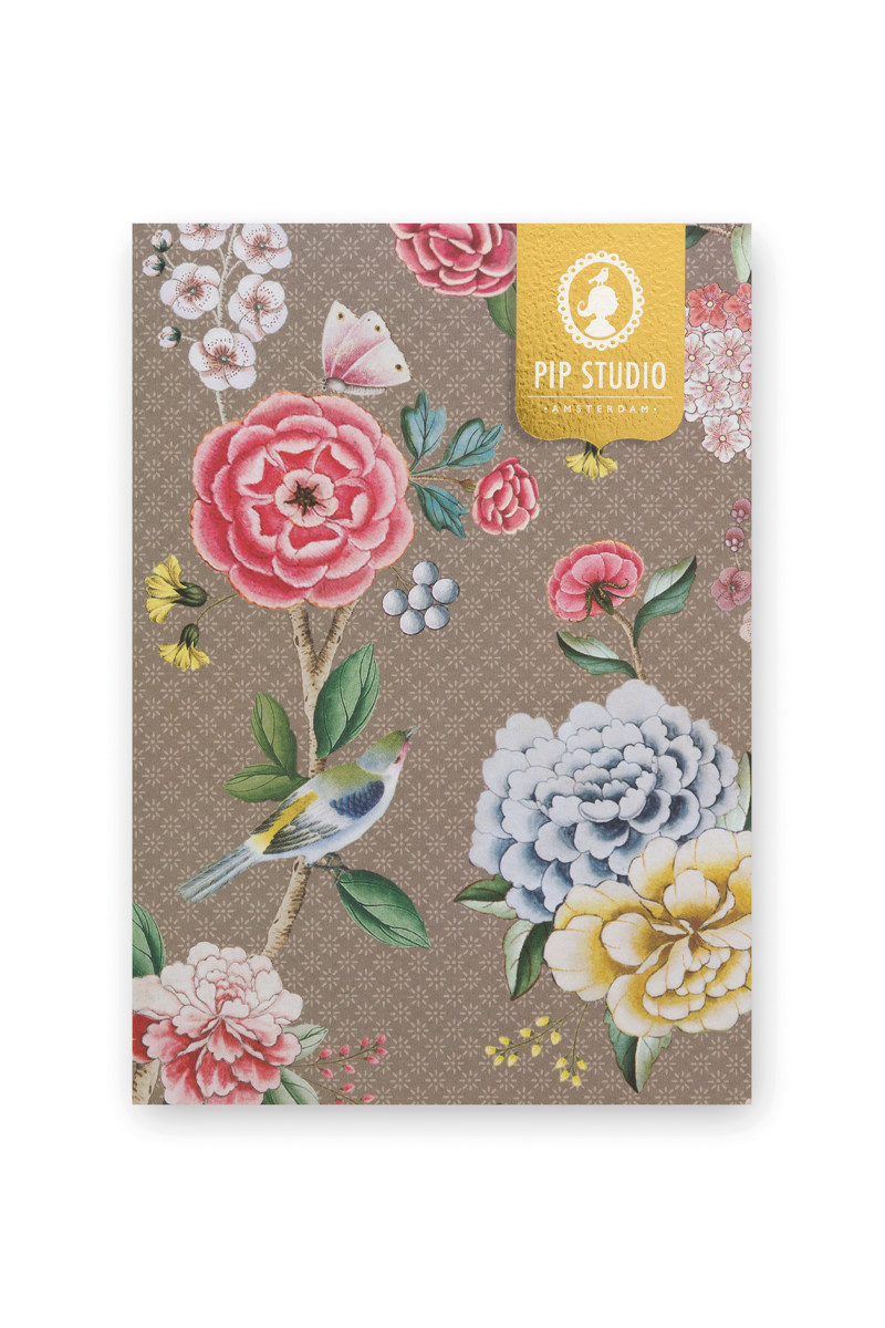 Color Relation Product Notebook A5 Blushing Birds Khaki