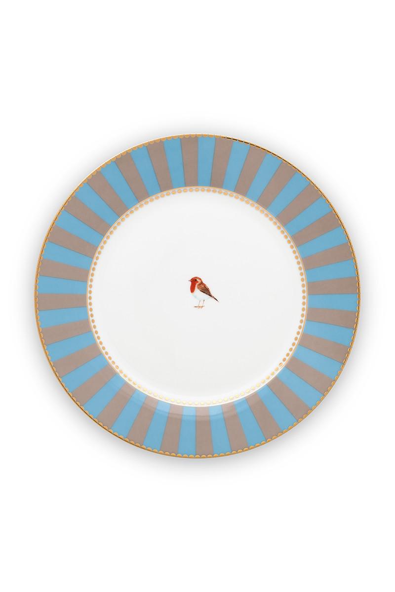 Color Relation Product Love Birds Breakfast Plate Blue/Khaki 21 cm