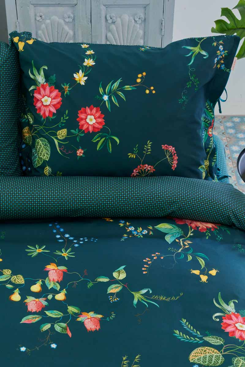 Color Relation Product Pillowcase Fleur Grandeur Dark Blue Green
