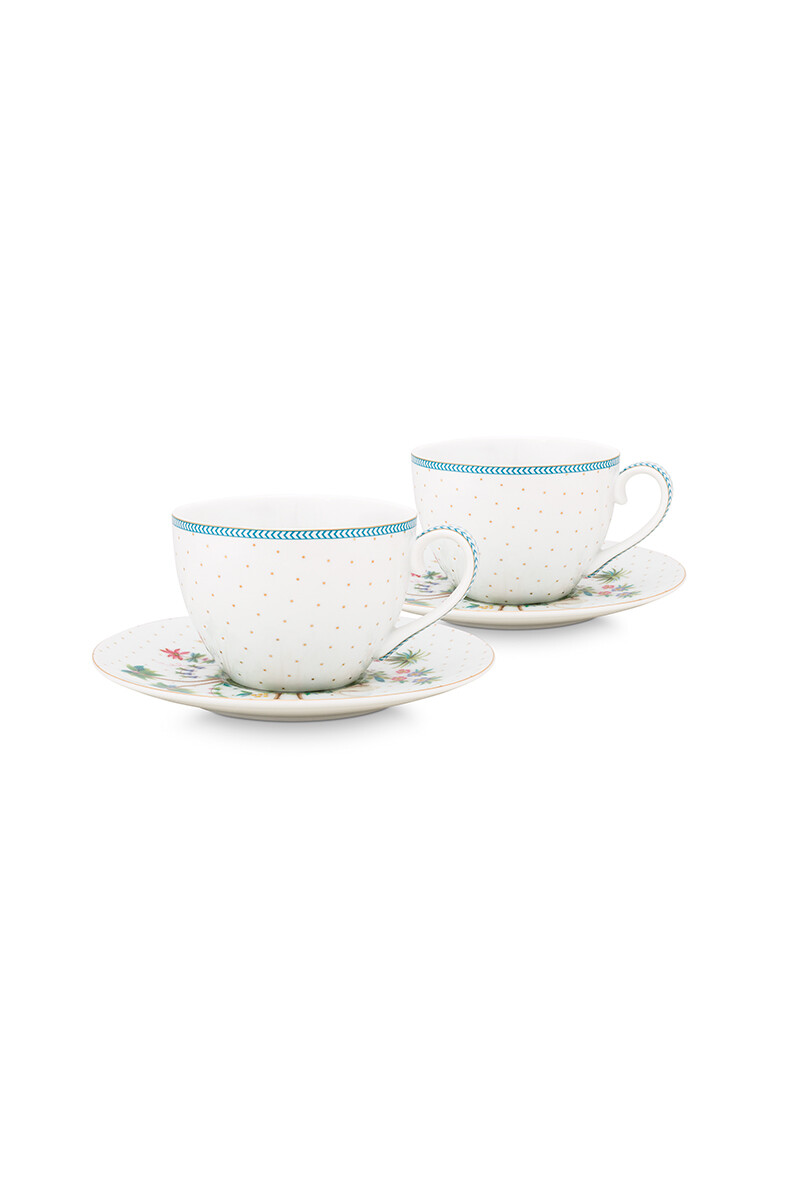 Color Relation Product Jolie Set/2 Cups & Saucers Dots Gold