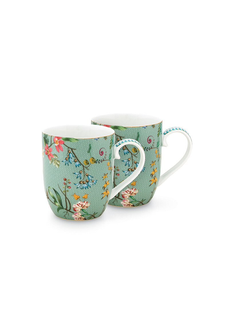 Color Relation Product Jolie Set/2 Mugs Small Flowers Blue