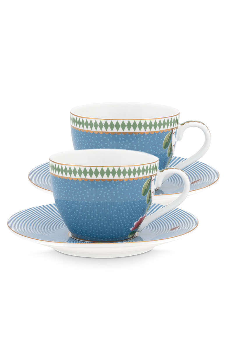 Color Relation Product La Majorelle Set/2 Espresso Cups & Saucers Blue