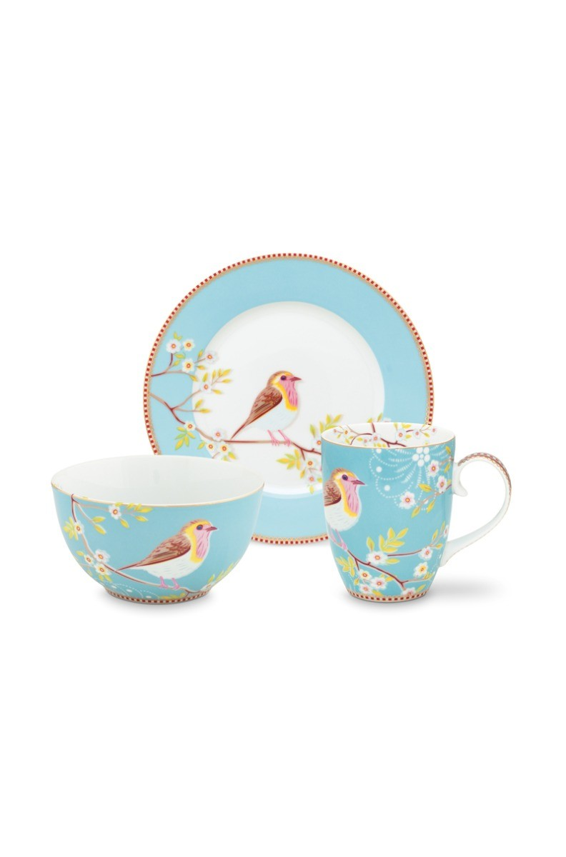 Color Relation Product Early Bird Set of 3 Breakfast Set Blue