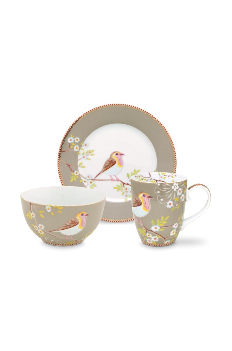 Color Relation Product Early Bird Set of 3 Breakfast Set Khaki