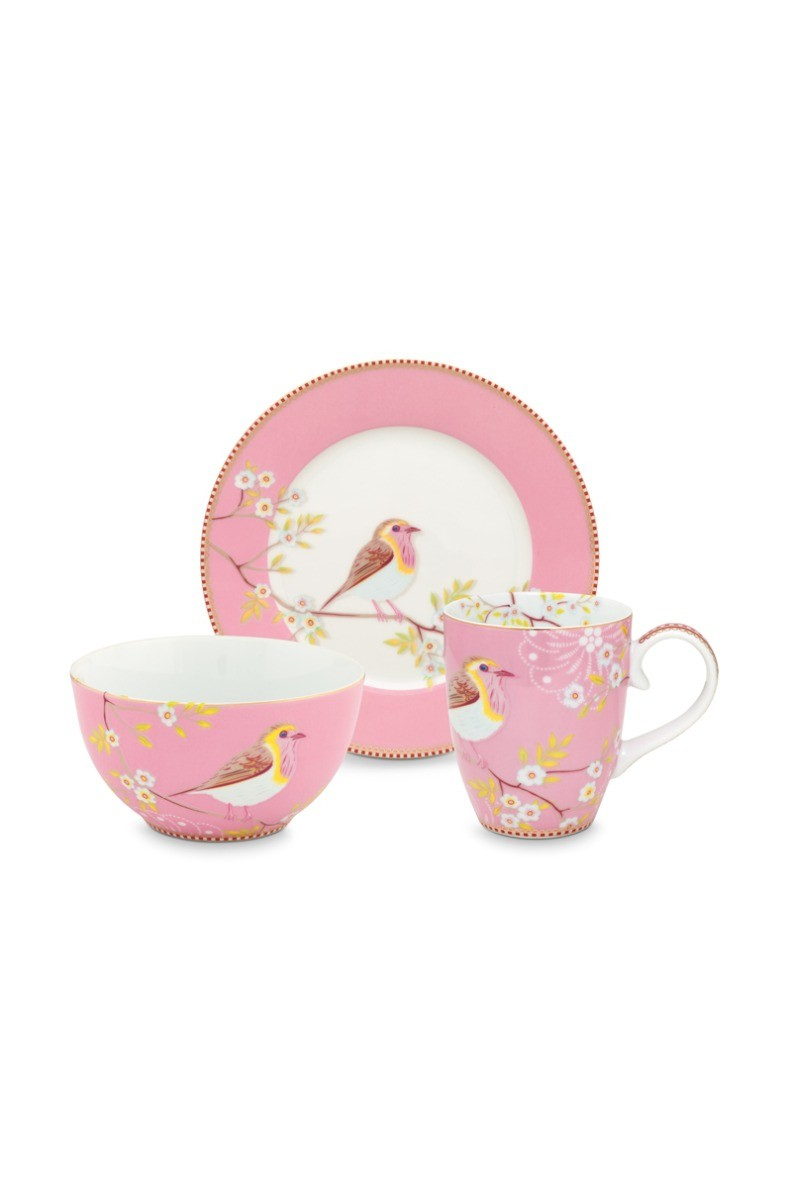 Color Relation Product Early Bird Set of 3 Breakfast Set Pink