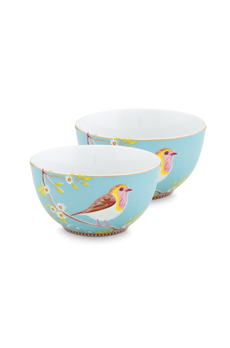 Color Relation Product Early Bird Set of 2 Bowls Blue 15 cm