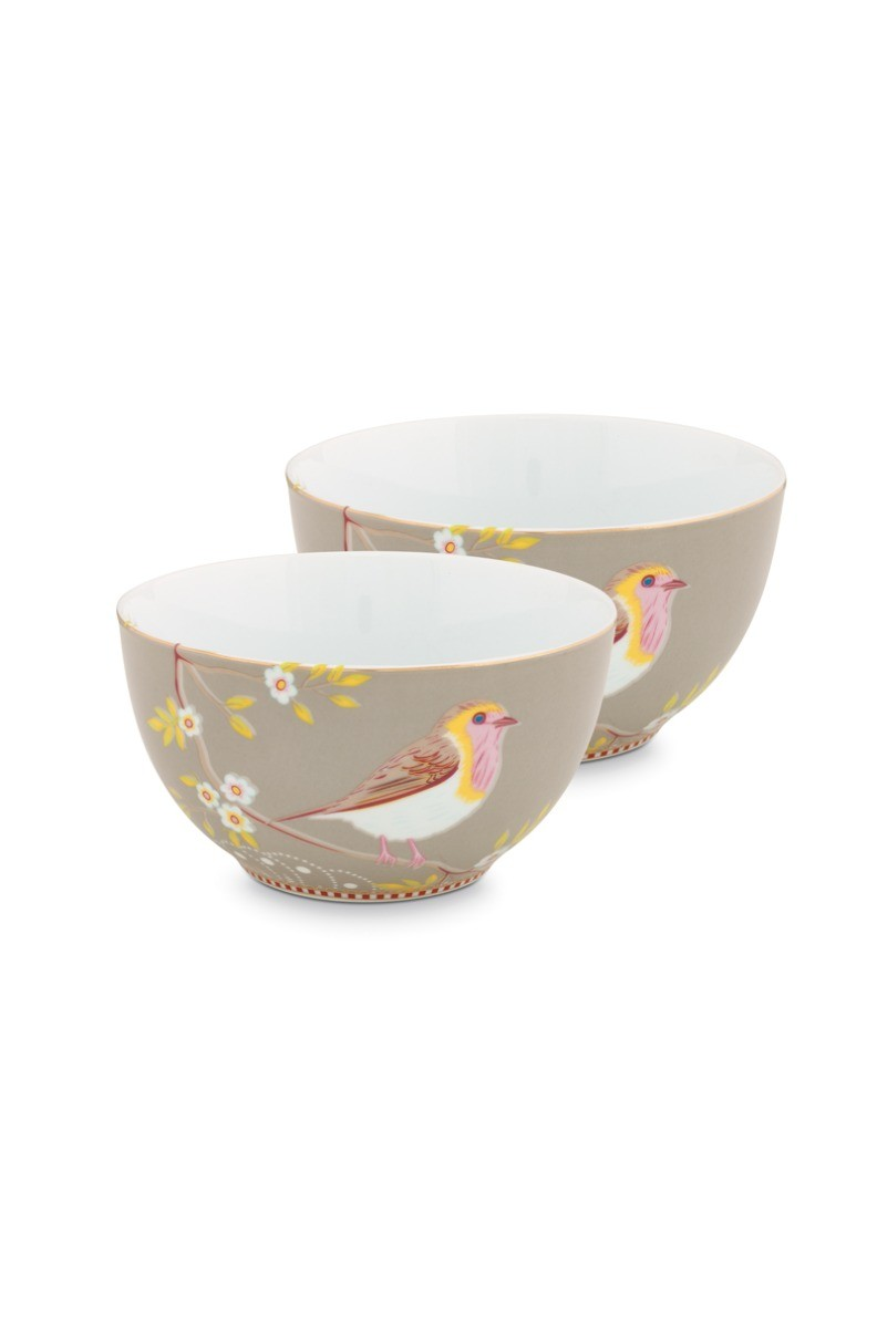 Color Relation Product Early Bird Set of 2 Bowls Khaki 15 cm