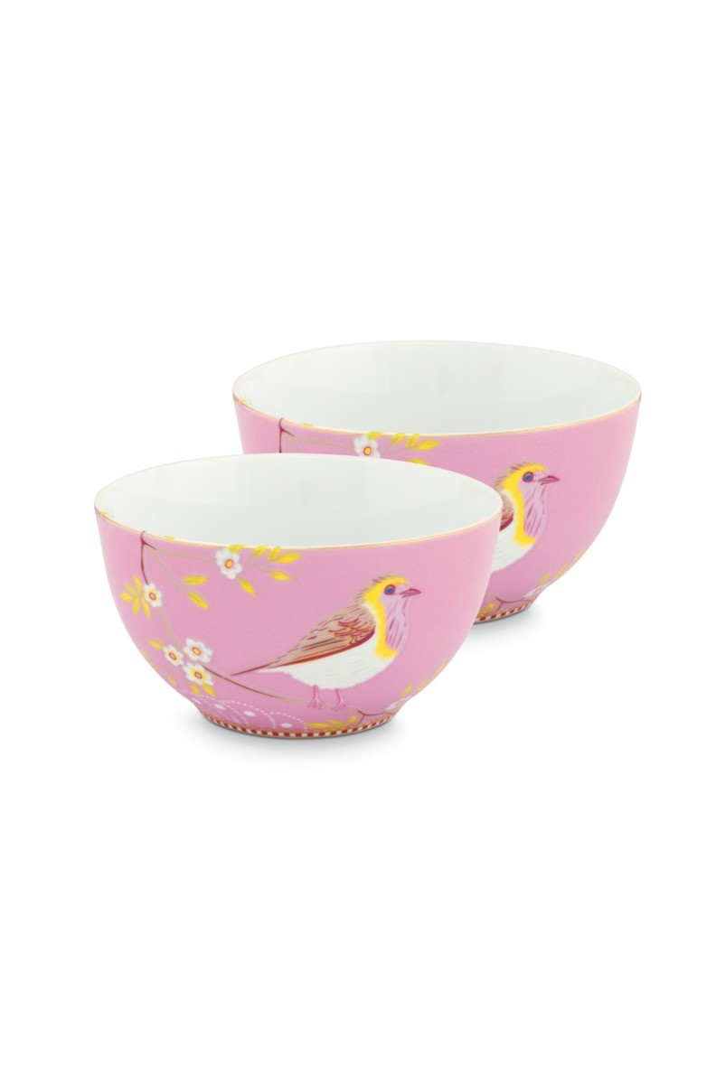 Color Relation Product Early Bird Set of 2 Bowls Pink 15 cm
