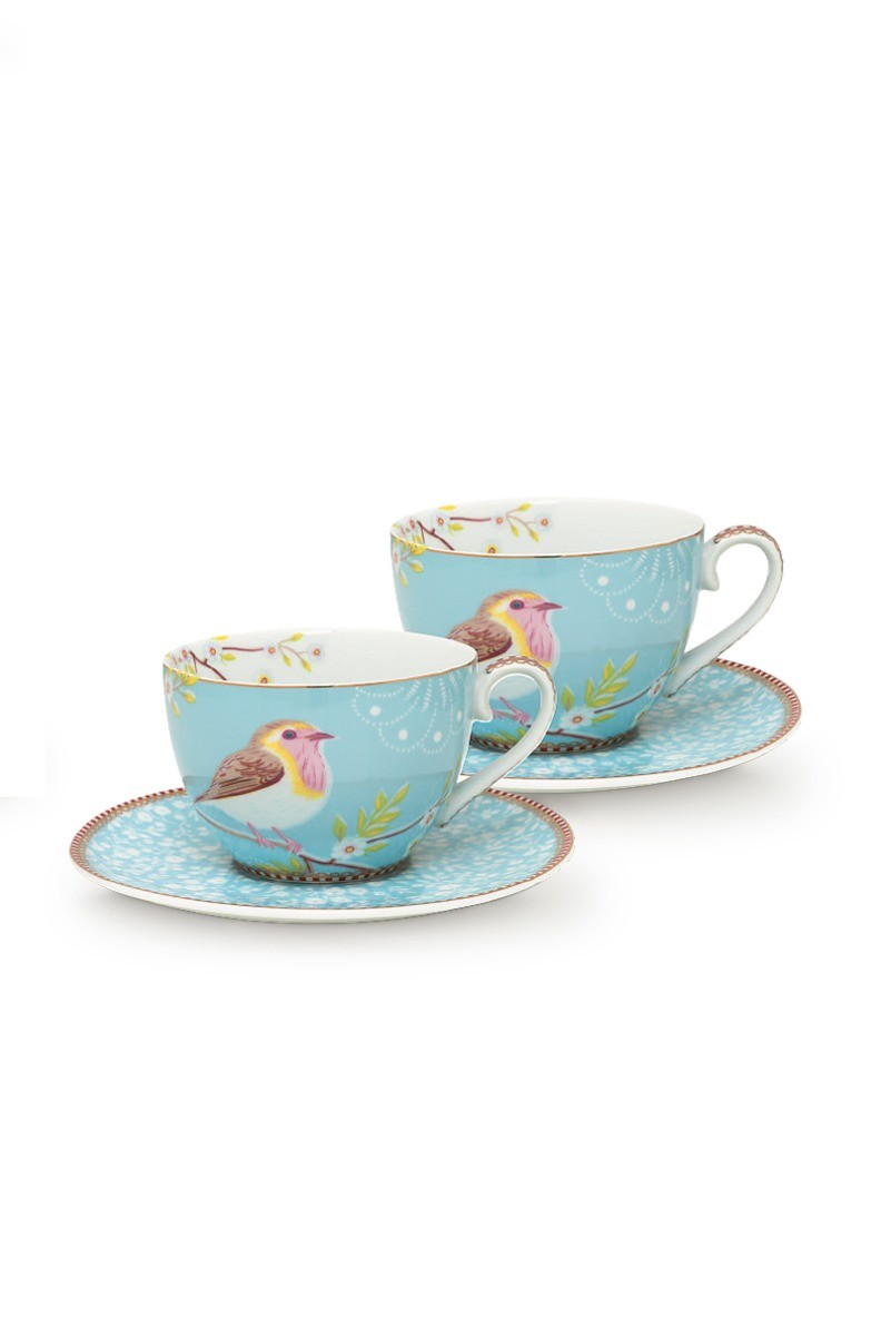 Color Relation Product Early Bird Set of 2 Cups and Saucers Blue