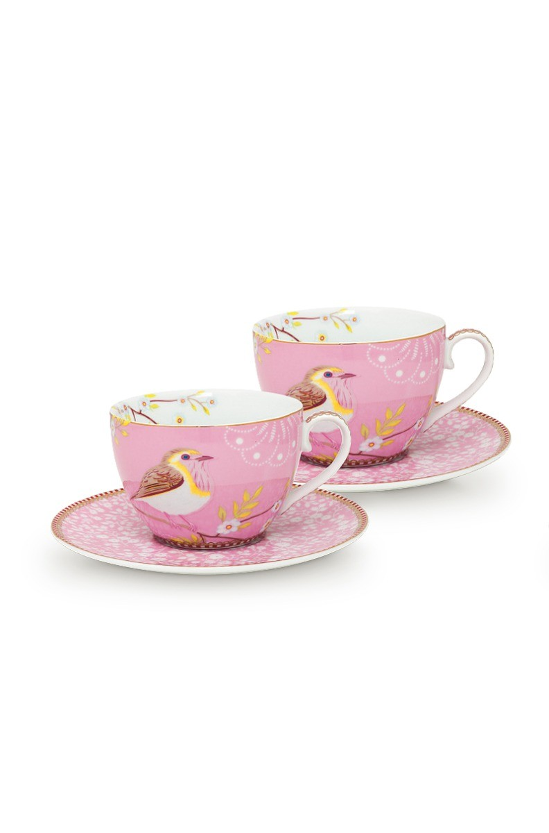 Color Relation Product Early Bird Set of 2 Cups and Saucers Pink