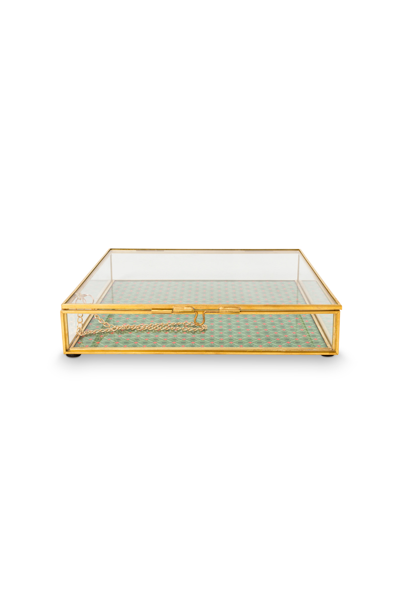 Color Relation Product Storage Box Glass Gold Square