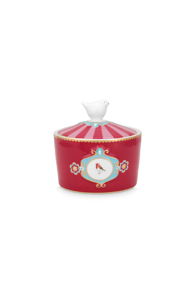 Color Relation Product Love Birds Sugar Bowl Red/Pink