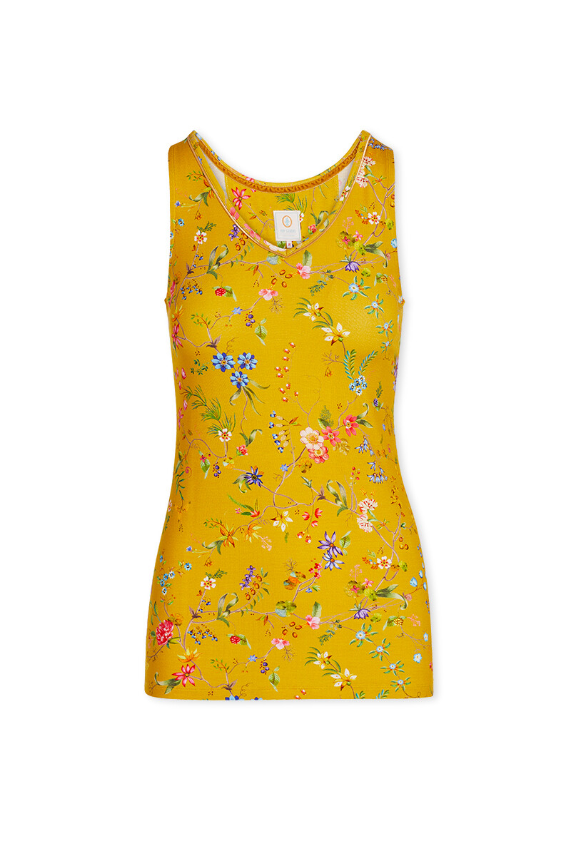 Color Relation Product Sleeveless Top Petites Fleurs Yellow