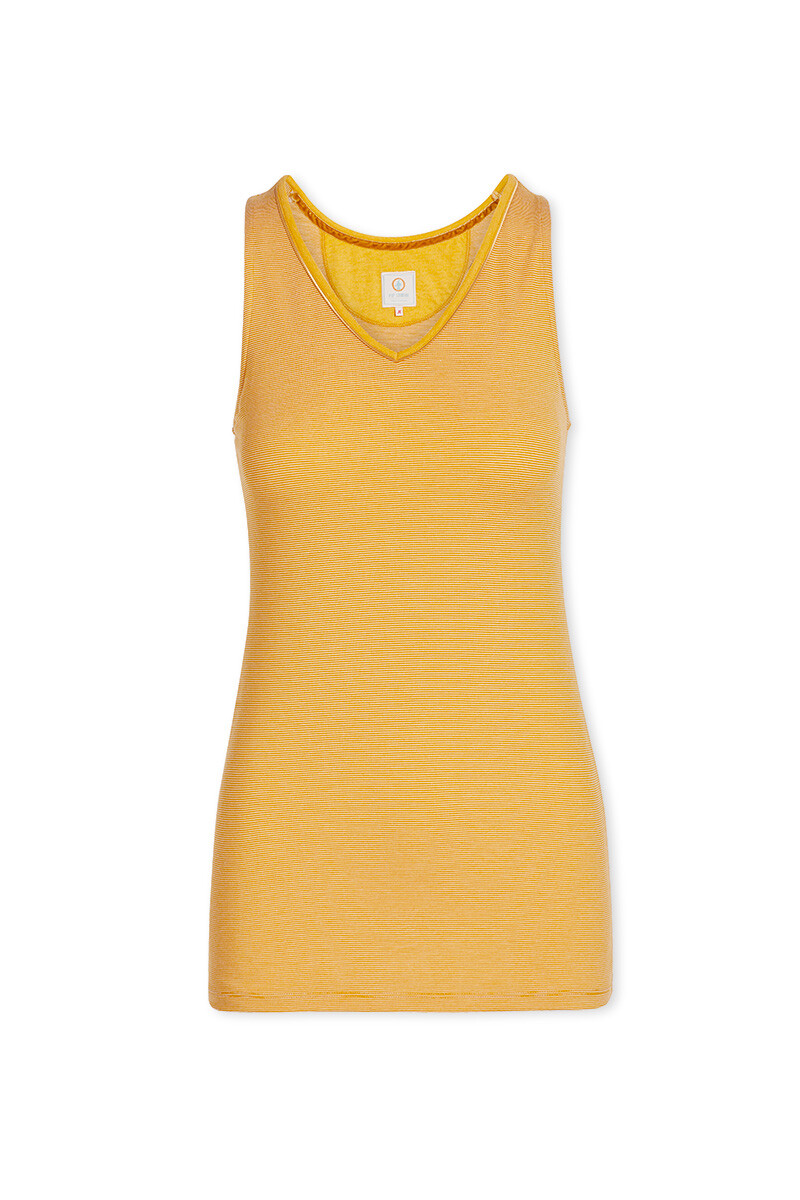 Color Relation Product Sleeveless Top Shiny Stripes Yellow