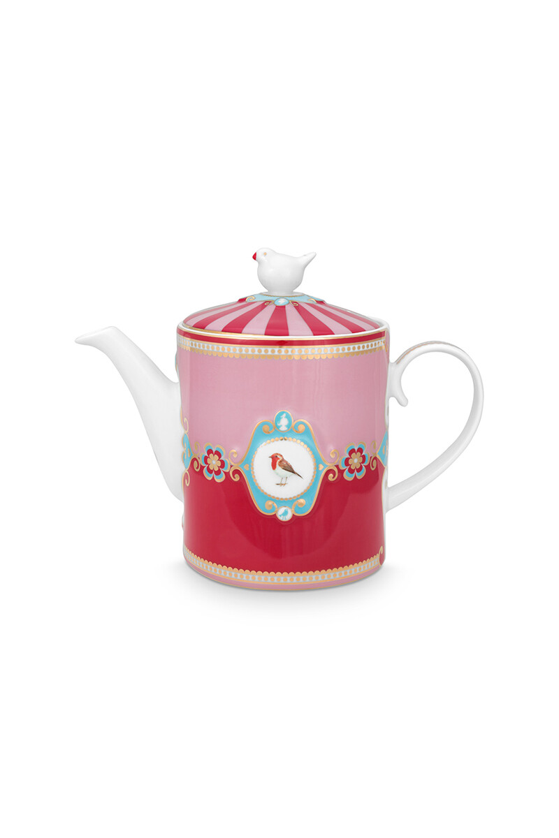 Color Relation Product Love Birds Teapot Medium Red/Pink