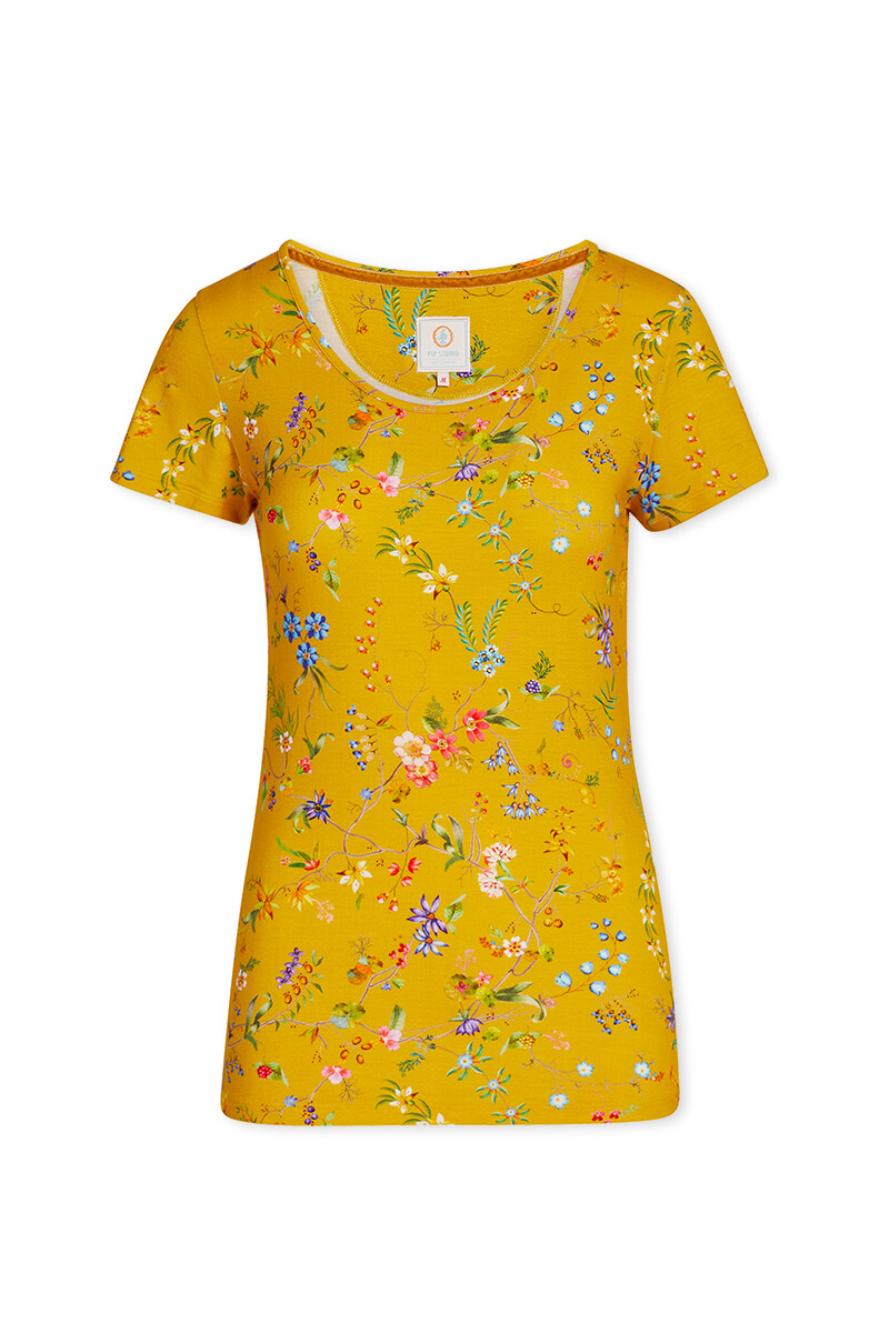 Color Relation Product Short Sleeve Petites Fleurs Yellow