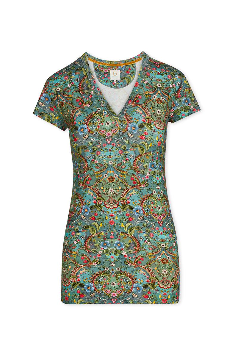 Color Relation Product Short Sleeve V-Neck Pippadour Green