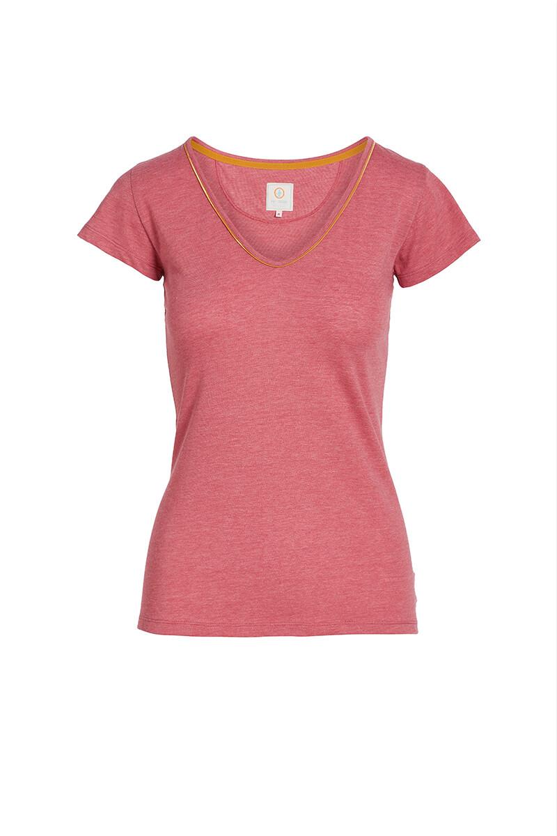 Color Relation Product Top Mit Kurze Ärmeln Melee Rosa