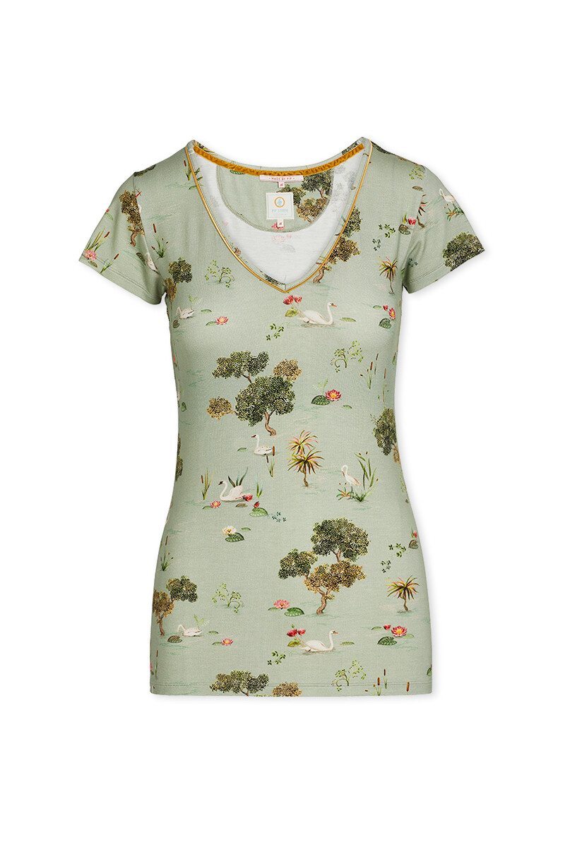 Color Relation Product Short Sleeve Swan Lake Green