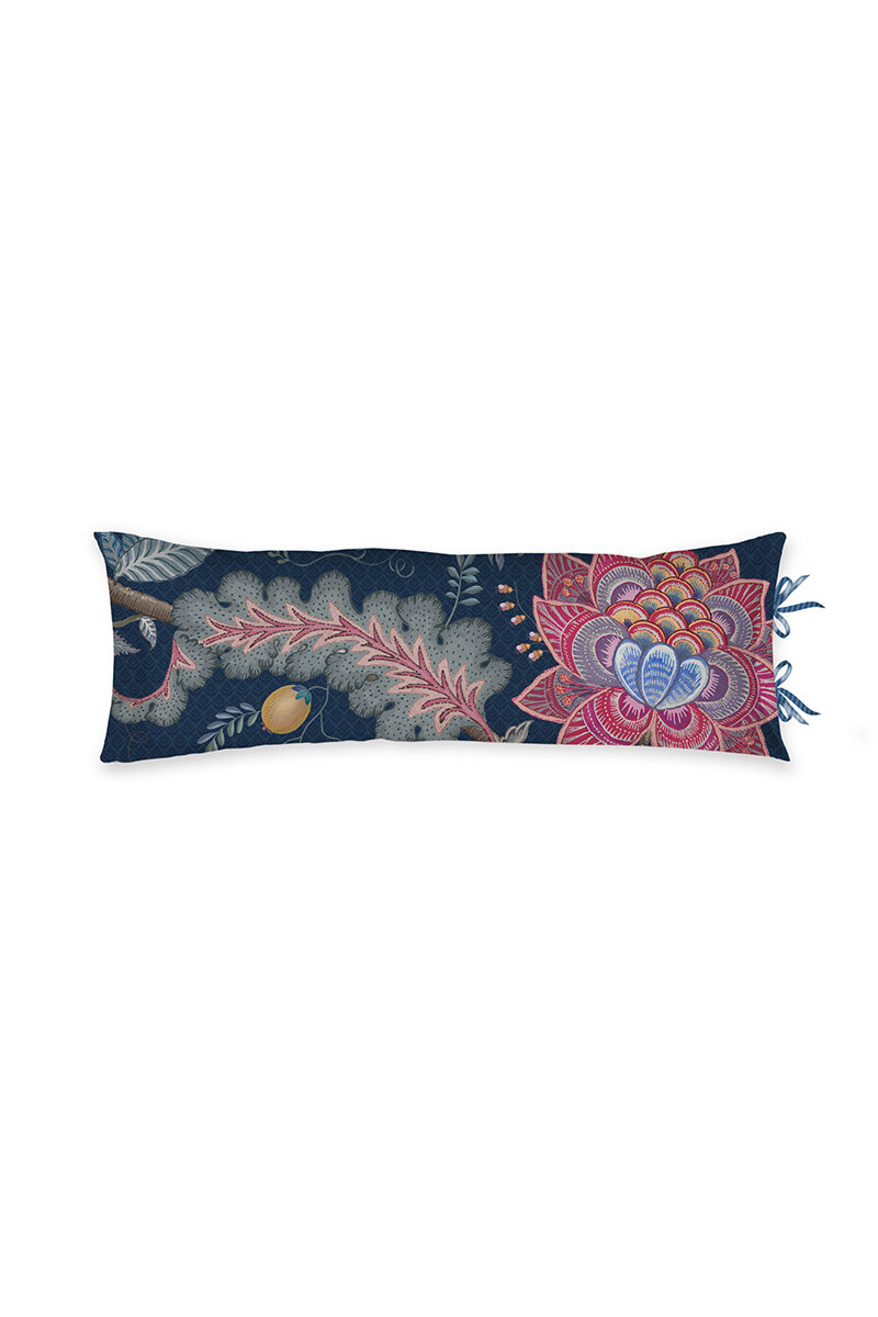 Color Relation Product Cushion Rectangle Long Tree of Life Dark Blue