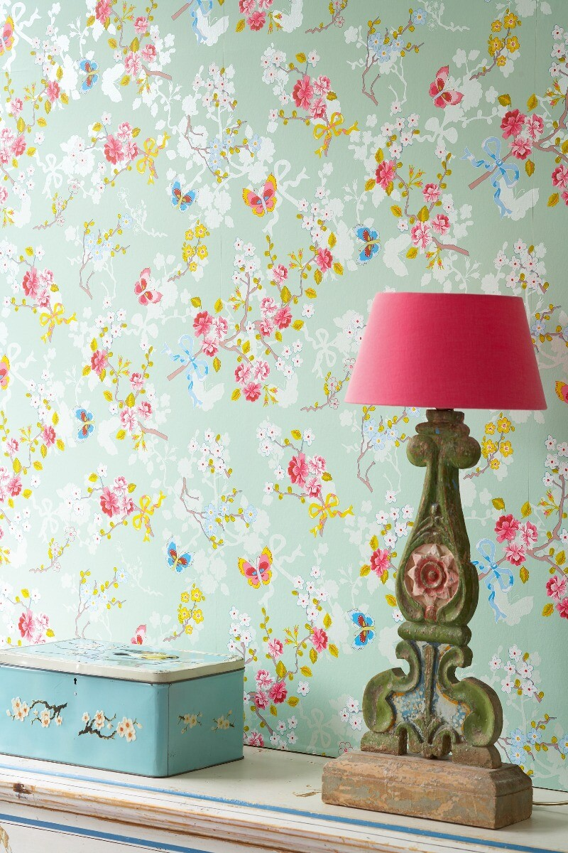 Color Relation Product Chinese Rose wallpaper green - groen