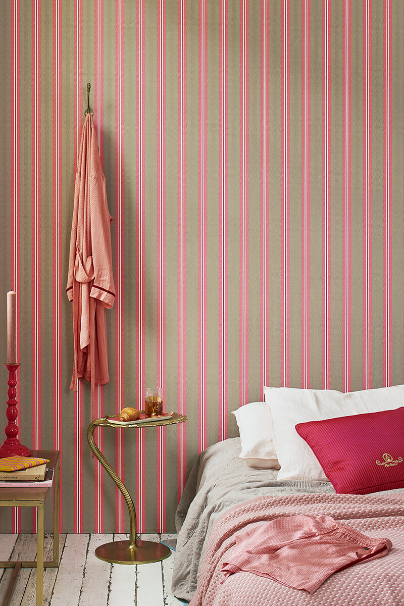 Color Relation Product Pip Studio Blurred Lines Wallpaper Khaki/Pink