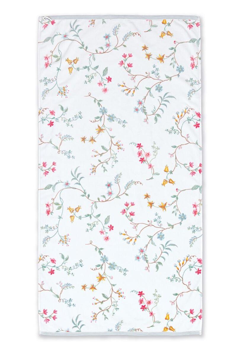Color Relation Product XL Bath Towel Les Fleurs White 70x140 cm